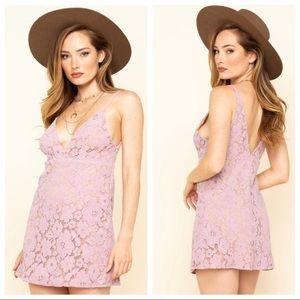 NWOT Purple Lace Tan Lining Sleeveless Dress / Top